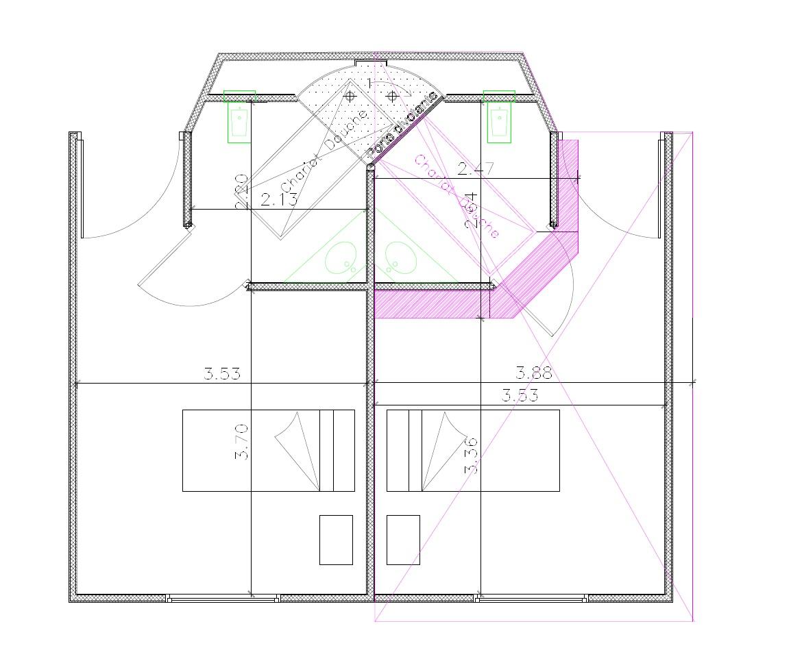 Le dispositif a permis de gagner dans chaque chambre l'espace coloré en violet.
