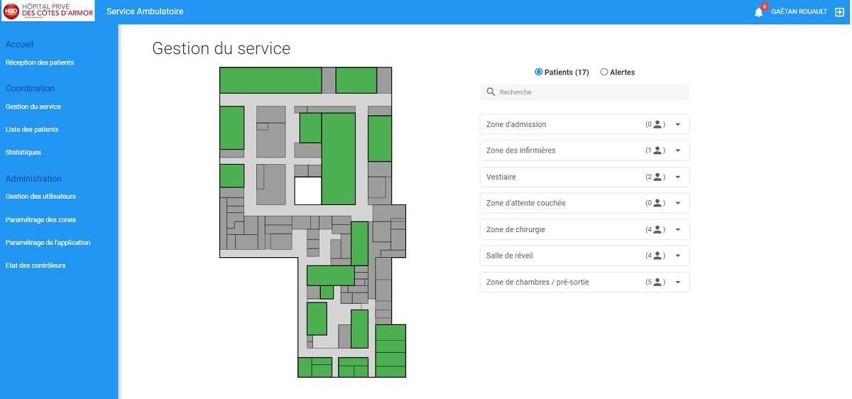 Interface du logiciel Ambu Track indiquant le nombre de patients dans les différents services et les alertes