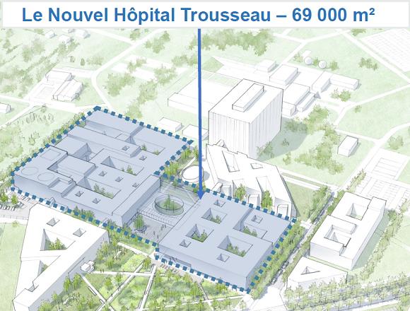 Le projet du cabinet AIA. L'hôpital pédiatrique est le bâtiment triangulaire au Sud-Ouest, le plateau de biologie est tout à l'Est du site