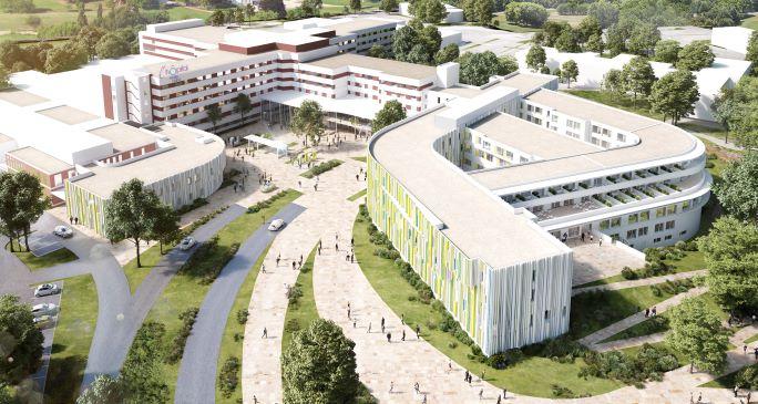 Vue du centre hospitalier de Villefranche-sur-Saône en 2021, source: établissement