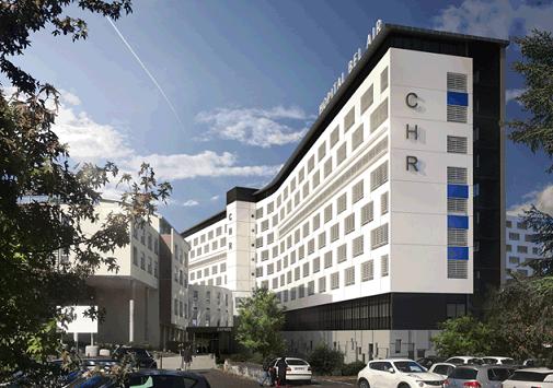 La direction générale du CHR Metz-Thionville a lancé la rénovation de l'ensemble des façades de l'hôpital adulte de Bel-Air (crédit photo : cabinet Schott).