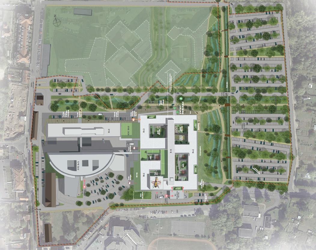 Vue aérienne du projet de reconstruction et rénovation du site de Meaux (AIA Life designers)