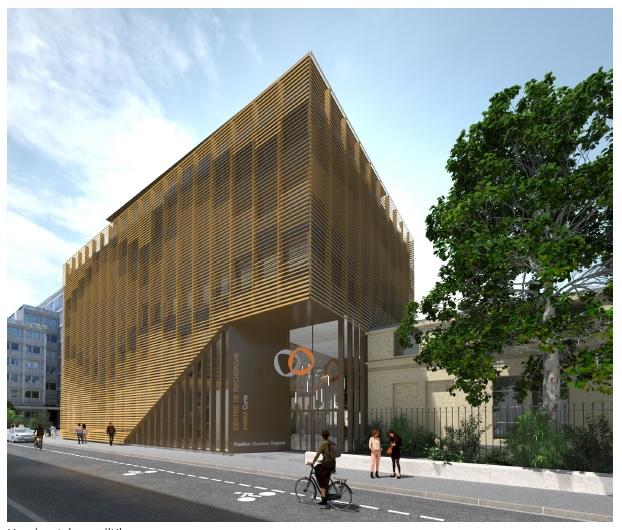 Institut Curie projet du bâtiment de recherche Caudius Regaud (Ba-So Architectures, image agence Digiwip)
